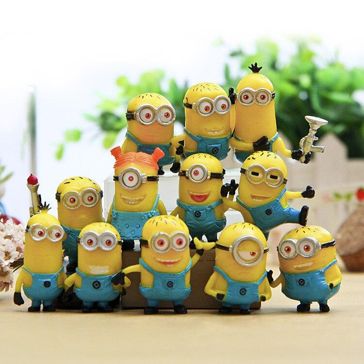 12pcs/set Cute Lovely Minion Miniature Figurines Toys Small Yellow Man Figures Desktop Furnishing Models 3cm Dolls Kids Gifts
