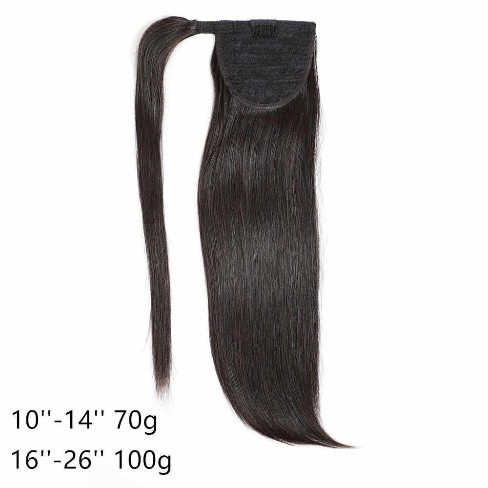 طويل مستقيم التفاف ذيل حصان شعر مستعار لعمل تسريحة ذيل الحصان مع وصلات شعر بمشابك للنساء البرازيلي ريمي ذيل حصان شعر مستعار 70 إلى 100g