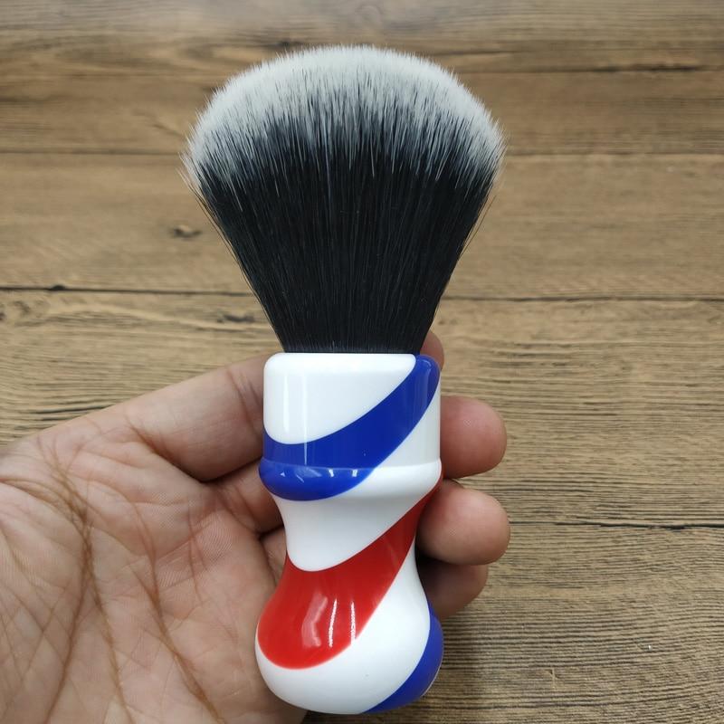 DS 24mm  Barber Pole Shaving Brush Tuxedo Synthetic Hair Knots