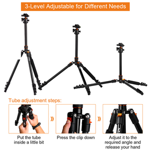 Image 4 - K&F CONCEPT Portable Camera Tripod Stand Aluminum Aolly 4 Section 63.4in/161cm with Panoramic 360° Swivel Ball Head for DSLRs