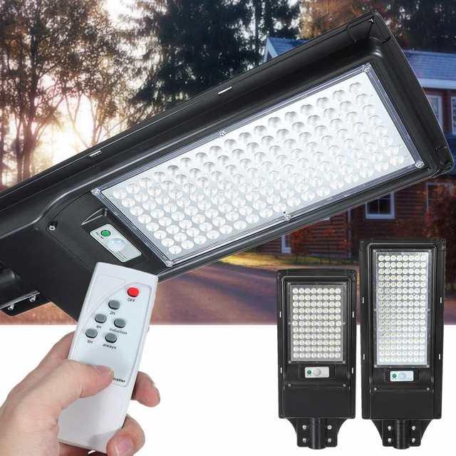 100W/200W LED Outdoor Lighting Wall Lamp Solar Street Light IP67 Solar Powered Remote Radar Motion Light Control for Garden Yard 1