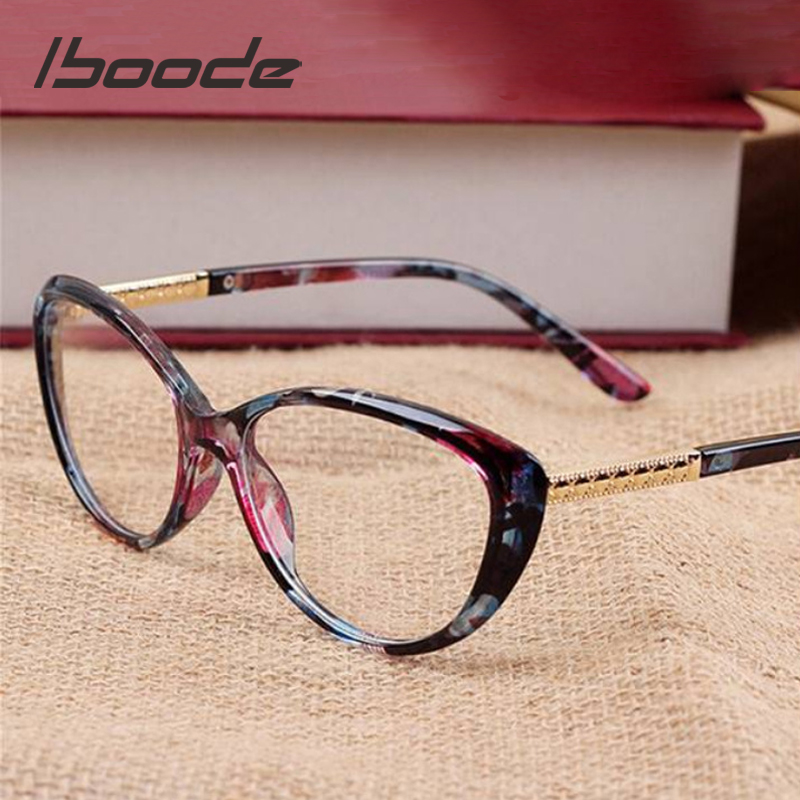 Iboode Retro Cat Eye Eyeglasses Women Optical Spectacle Frame Computer Reading Glasses Frame Oculos De Grau Feminino Armacao