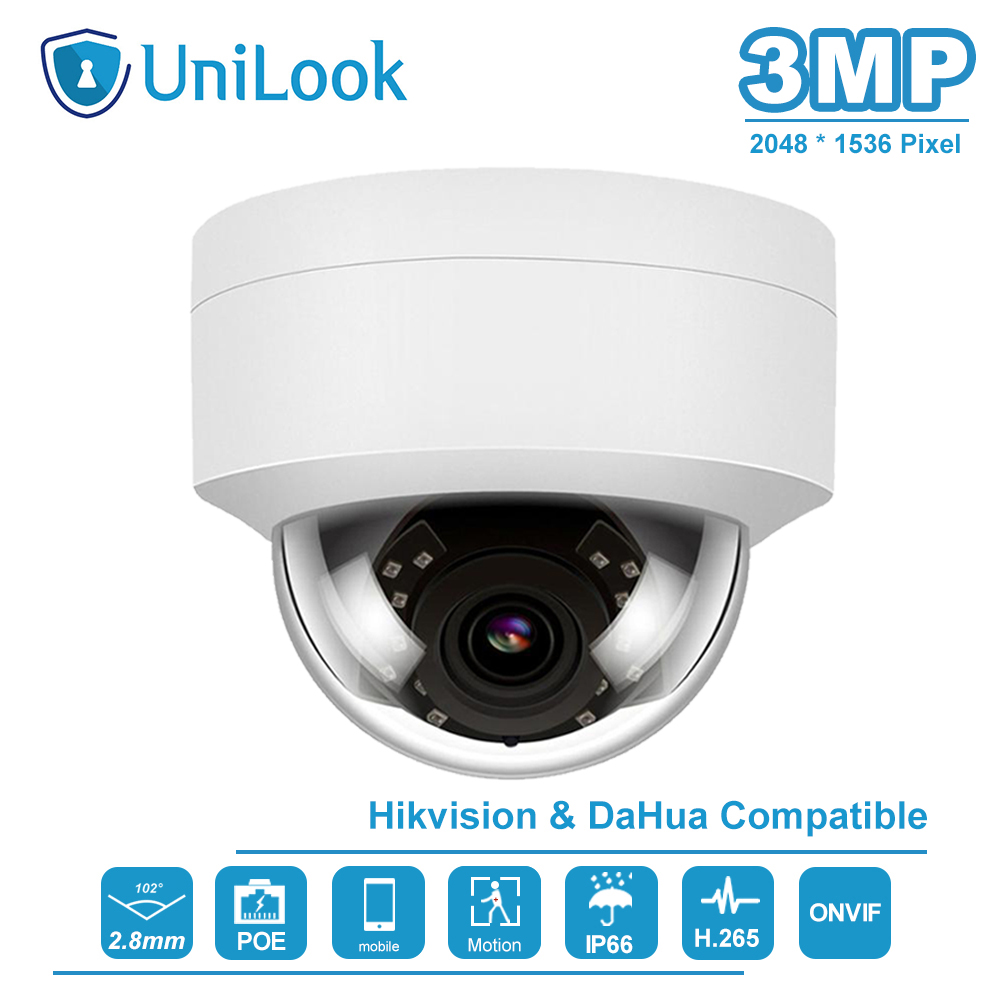 UniLook(Hikvision Compaible) 3MP Dome POE IP Camera Outdoor Nightvision IR 30M Motion Detection Alert Weatherproof IP66 ONVIF