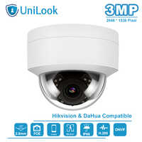 UniLook (Hikvision Ds Compaible) 3MP Dome POE IP Camera Outdoor Nightvision IR 30M Motion Detection Alert Intemperie IP66 ONVIF