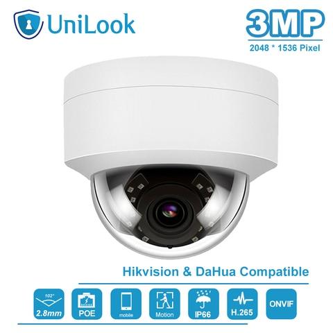 unilook hikvision compaible 3mp dome poe camera ip visao noturna ao ar livre ir 30