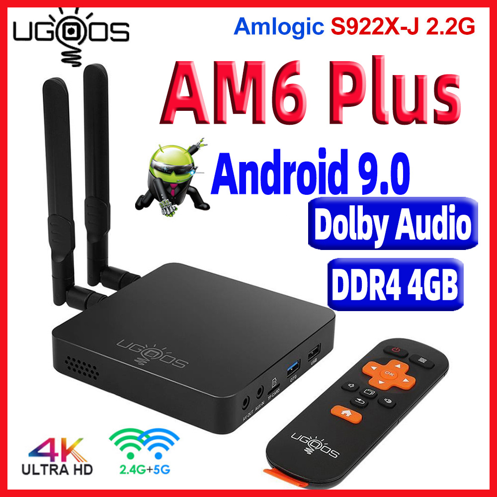 UGOOS AM6 Plus Android 9,0 caja de TV DDR4 4GB RAM 32GB ROM AM6 Pro Amlogic S922X 4K Media Player AM6 2G 16G TVbox 2,4/5G WiFi 1000M Repetidor amplificador celular de 1800mhz 2g 4g 1800mhz GSM amplificador de señal móvil 4g amplificador de señal 1800 dcs antena exterior