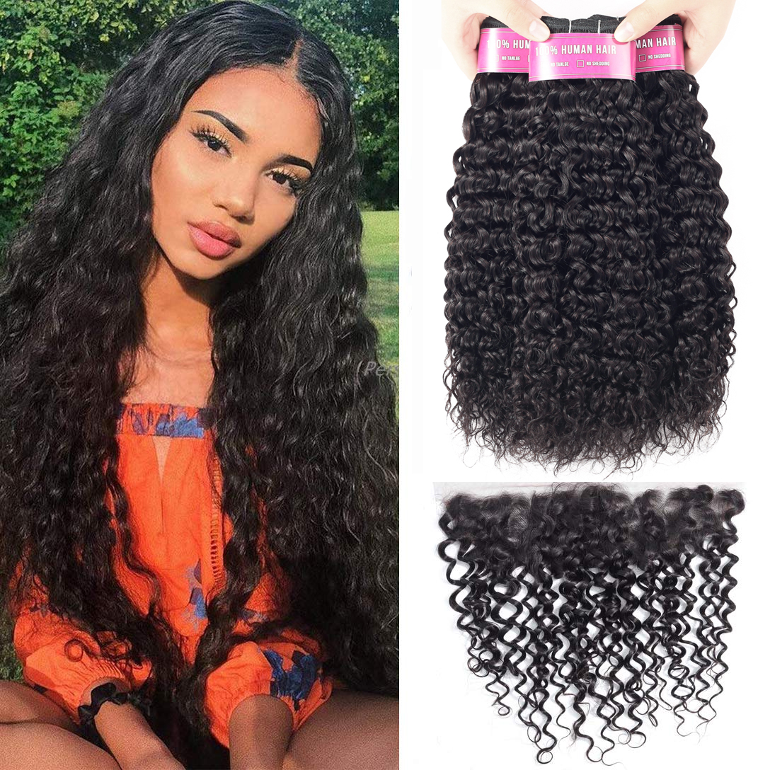 Sapphire Brazilian Water Wave Bundles With Frontal Human Hair Bundles With Closure Remy 13*4 Lace Frontal Closure With Bundles
