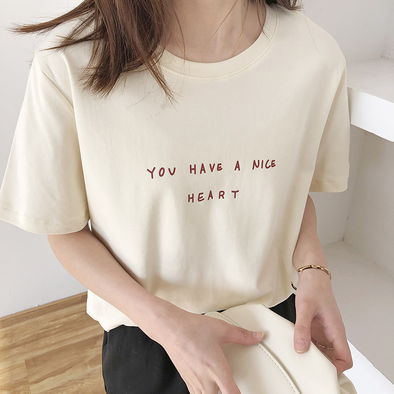 Letter Print Cotton T-shirt O Neck Short Sleeve T-shirts Women Casual Loose Girls Summer 2020 Korean Tees