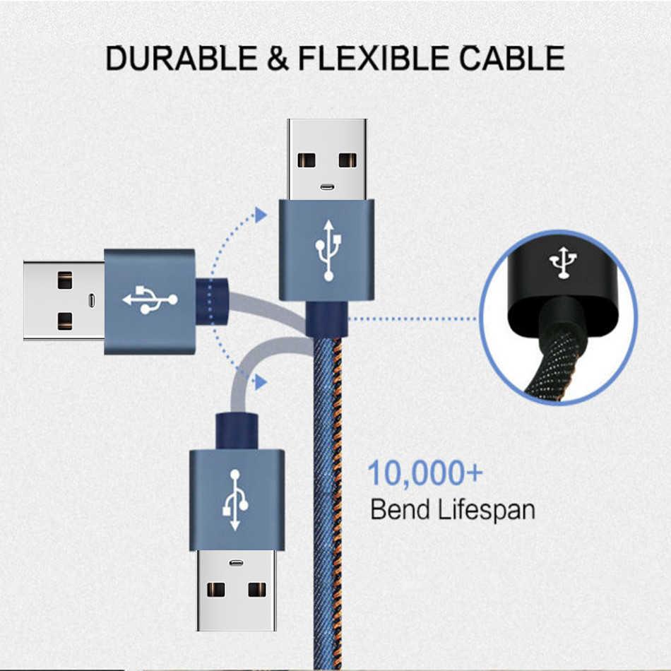 المصغّر USB كابل شاحن سريع USB كابل بيانات نايلون مزامنة الحبل 3A لسامسونج شاومي هواوي Redmi نوت 4 5 أندرويد مايكرو كابل يو اس بي s