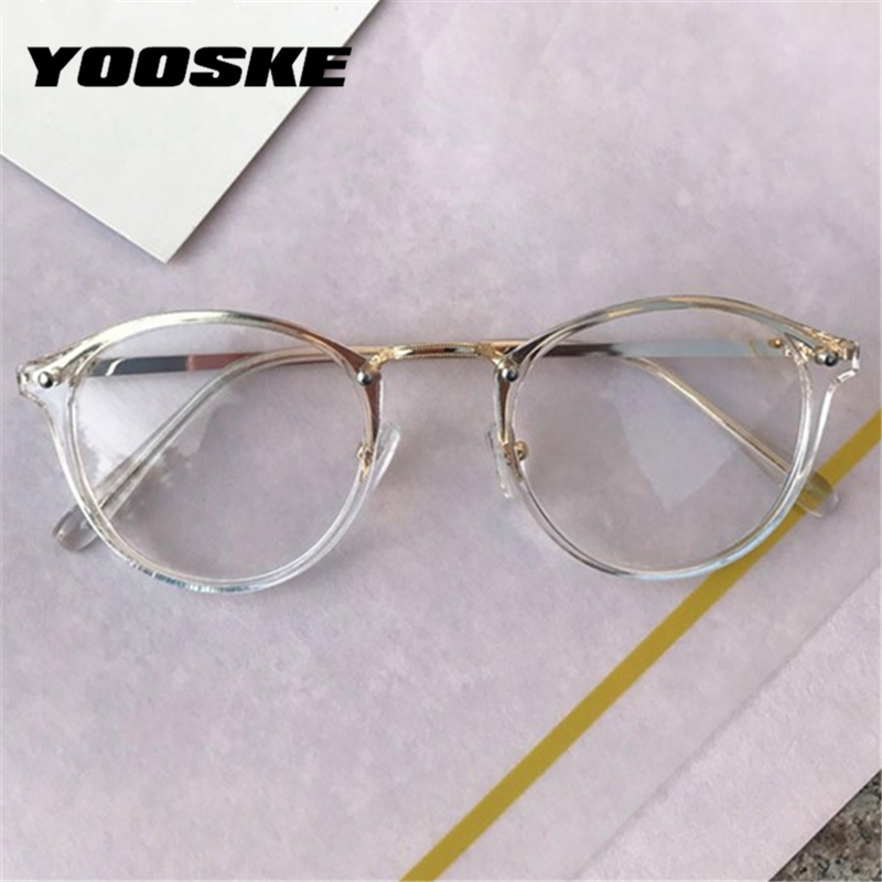 YOOSKE Round Glasses Frames Men Women Vintage Transparent Optical Eyeglasses Frames Black Pink Clear Lens Spectacles Eyewear