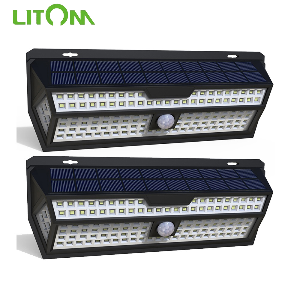 1/2 Pack LITOM 132 LED Solar Light PIR Motion Sensor Wall Lamp White Outdoor Garden Light IP65 Waterproof For Garden Decoration