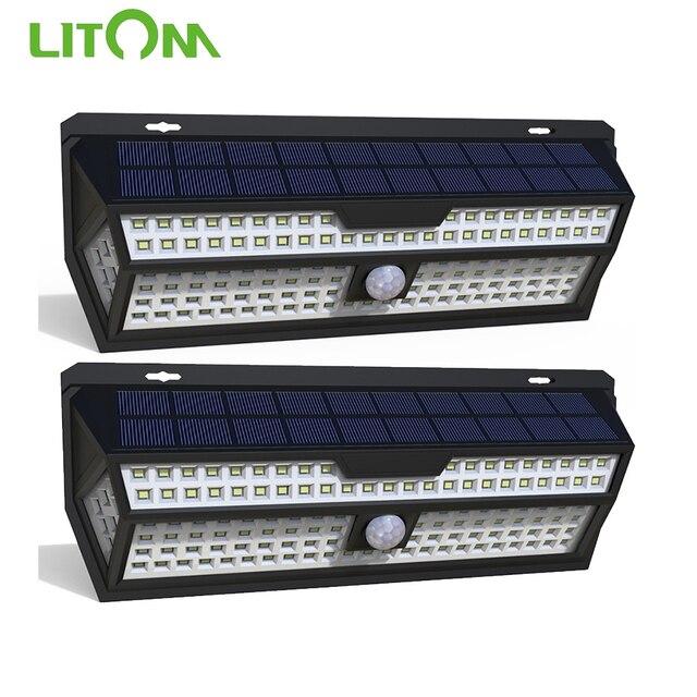1/2 Pack LITOM 132 LED solarny czujnik ruchu PIR kinkiet biała lampa ogrodowa IP65 wodoodporna do dekoracji ogrodu