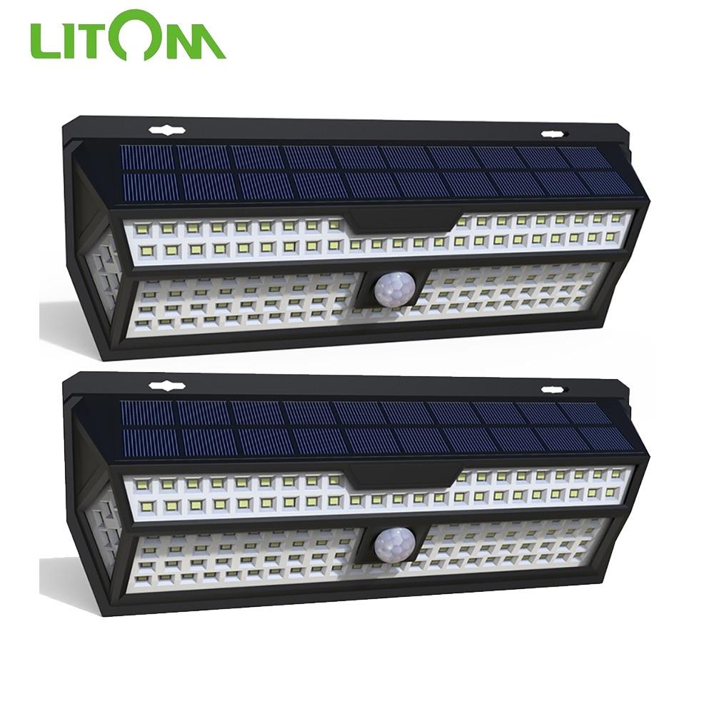 1 2 pacote litom 132 led solar luz pir sensor de movimento lampada parede branco jardim