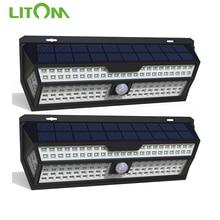 LITOM Lámpara LED de pared con Sensor de luz por movimiento PIR Solar, luz blanca de jardín exterior, resistente al agua IP65 para decoración de jardín, paquete de 1/2