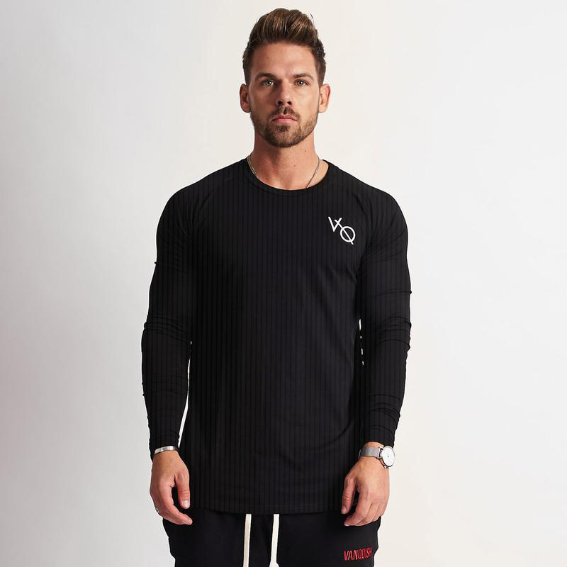 VQ Muscle Fitness Autumn And Winter New Style Running Elasticity Sports Long Sleeve Men's Trendy Pure Color  Tops MEN'S Long-sle