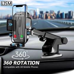 LISM Sucker Car Phone Holder Mobile Phone Holder Stand in Car No Magnetic GPS Mount Support For iPhone 12 11 Pro Xiaomi HUAWEI