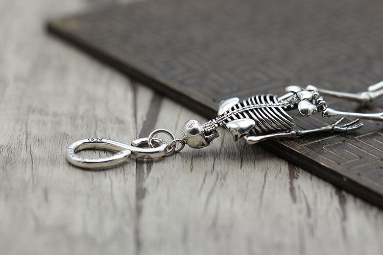 S925 sterling silber schlüssel ring Retro persönlichkeit hip hop schädel einzigartige tasche taste Thai silber punk schlüssel kette Senden liebhaber geschenk - 6