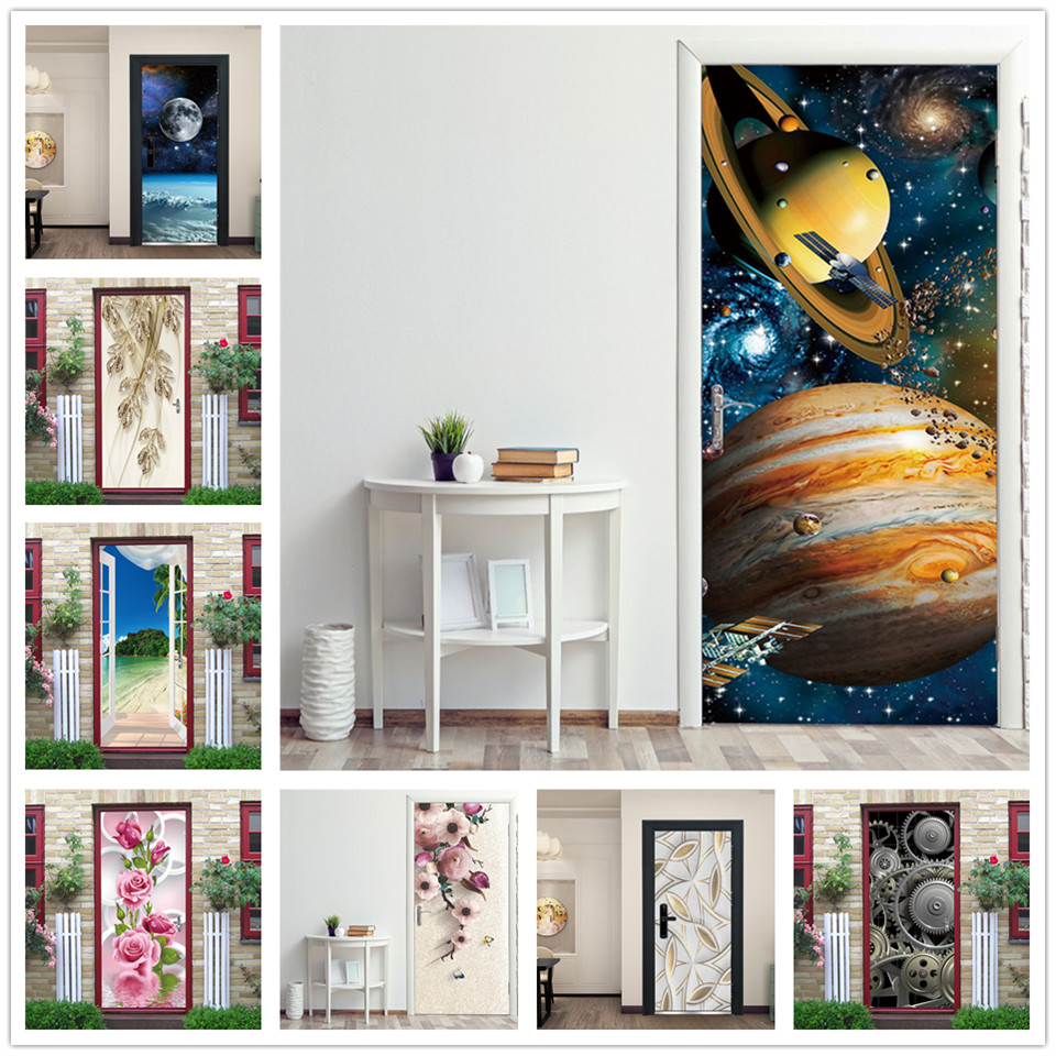 2pcs/set Space Planet Stickers On The Doors PVC Self Adhesive Wallpaper For Door Waterproof Wallpaper Home Design Deur Sticker