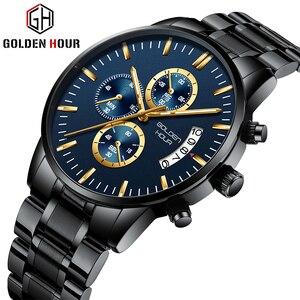GOLDENHOUR мужские часы лучший бренд класса люкс модные деловые мужские кварцевые часы водонепроницаемые спортивные мужские наручные часы Relogio ...