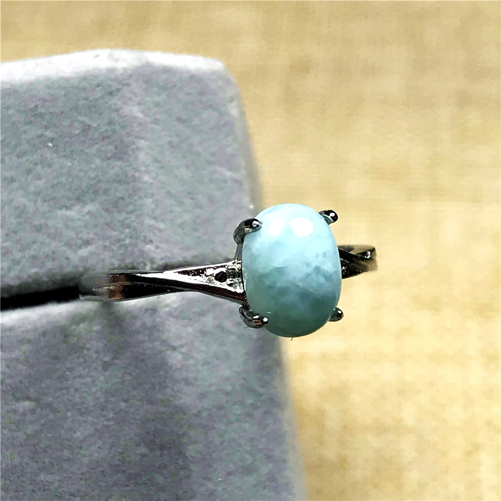 Natural Blue Larimar Stone Ring For Woman Lady 7x5mm Love Silver Crystal Water Pattern Gemstone Adjustable Ring Jewelry AAAAA