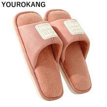 Spring Autumn Bedroom Slippers Women Soft Plush Floor Lover Household Shoes Warm Home Slipper Indoor Furry Flip Flops Square Toe conymee women slippers 2018 spring autumn couples flat shoes casual sneakers for men women indoor home slipper soft pantufas