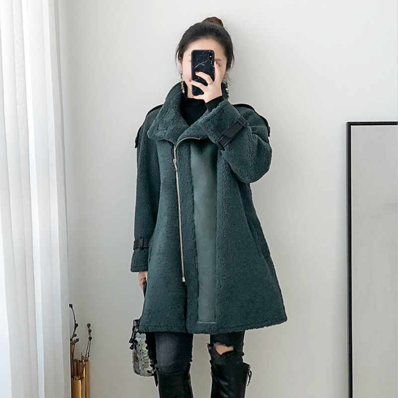 Płaszcz z prawdziwego futra kobiety strzyżenie owiec płaszcz zimowy kobiety motocykl kurtka z wełny kobiety ubrania 2020 Manteau Femme BGS80869 YY1096