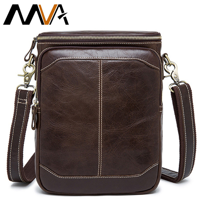 MVA  Cow Genuine Leather Men's Shoulder Bag For Men Single Strap Male Bags Men's Crossbody Bag Genuine Leather Men Hangbag 8003
