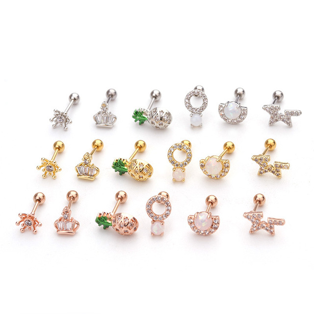 Fashion 1Pc Ear Piercing Jewelry 20g Stainless Steel Bar and Cz Cartilage Helix Tragus Conch Rook.jpg 640x640 - Fashion 1Pc Ear Piercing Jewelry 20g Stainless Steel Bar and Cz Cartilage Helix Tragus Conch Rook Lobe Screw Back Earring Stud