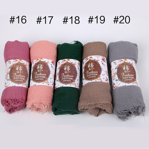 Image 5 - 10 pçs/lote liso enrugamento wrap algodão viscose longo xale cachecol feminino crinkle hijab xale muçulmano cabeça hijab cachecol atacado