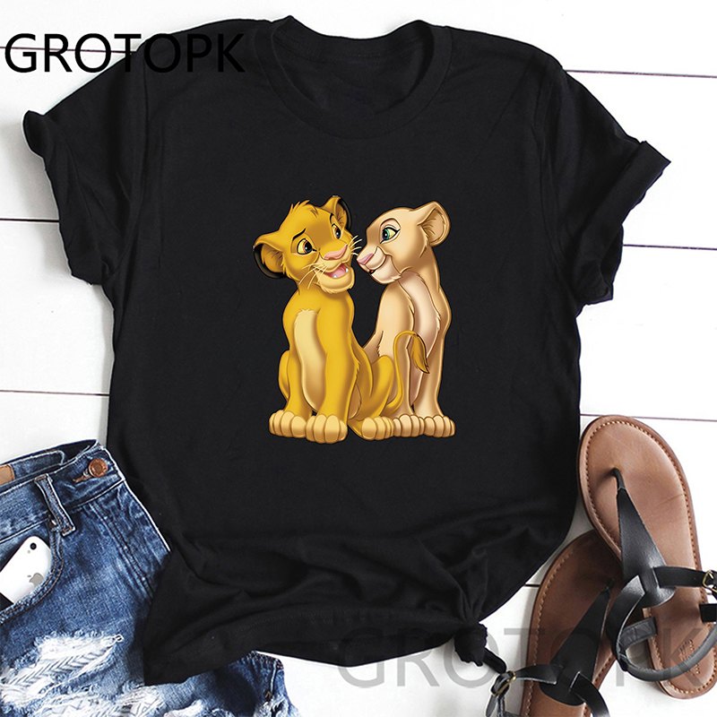 Simba Lion King Women T Shirt Harajuku Fashion T-Shirt Vintage Tumblr Tshirt Summer White High Street Tops Tees