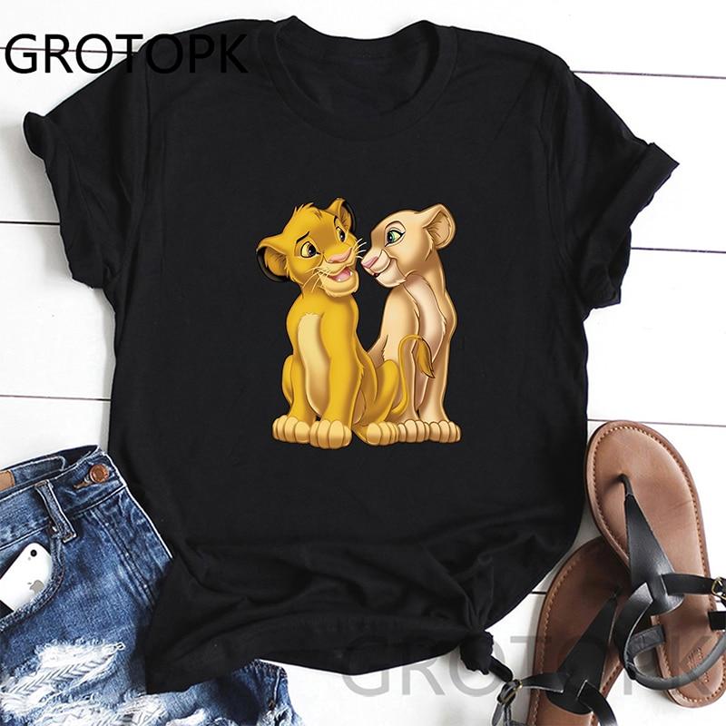 Simba Lion King Women T Shirt Harajuku Fashion T-Shirt Vintage Tumblr Tshirt Summer White High Street Tops Tees