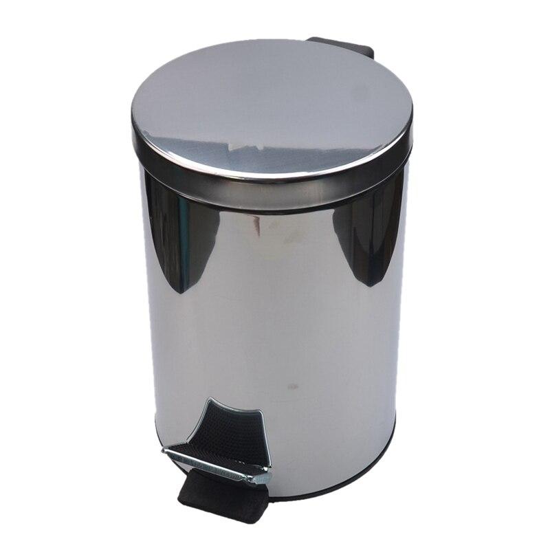 Ev ve Bahçe'ten Atık Kovaları'de Mini çöp tenekesi kapaklı yumuşak yakın  yuvarlak banyo çöp tenekesi çıkarılabilir iç ile çöp kovası  paslanmaz çelik çöp tenekesi  5L title=