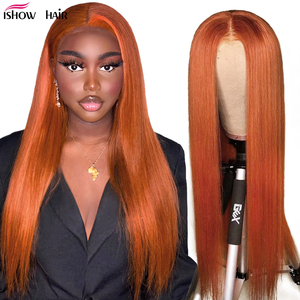 Image 2 - Ishow Ombre Highlight Wig Brown Honey Blonde Colored  Indian Whole Lace Front Human Hair Wigs Straight 13X4X1 Lace Frontal Wig