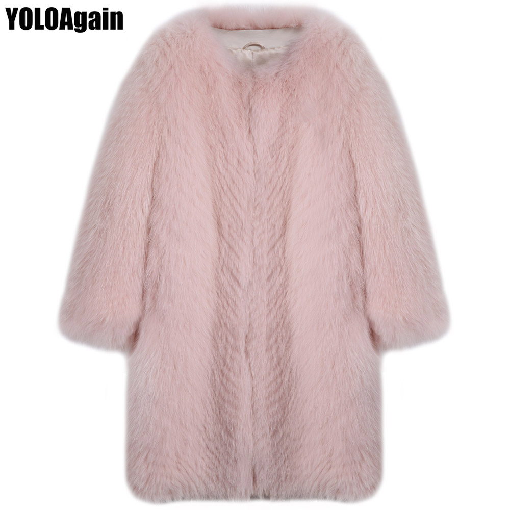 YOLOAgain winter warm women natural fox fur coat ladies long fox fur coat