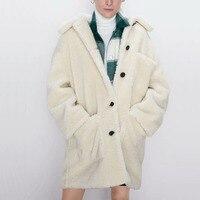 Women casual winter coat solid color pocket decoration long coat