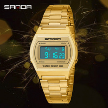 Gold Watch Men Luxury Sport Watch Waterproof Steel Belt Digital Watch Alarm Clock Shockproof Outdoor Electronic Watch Men Reloj bicycle mounted waterproof shockproof mini aluminium alloy luminous clock watch gold silver