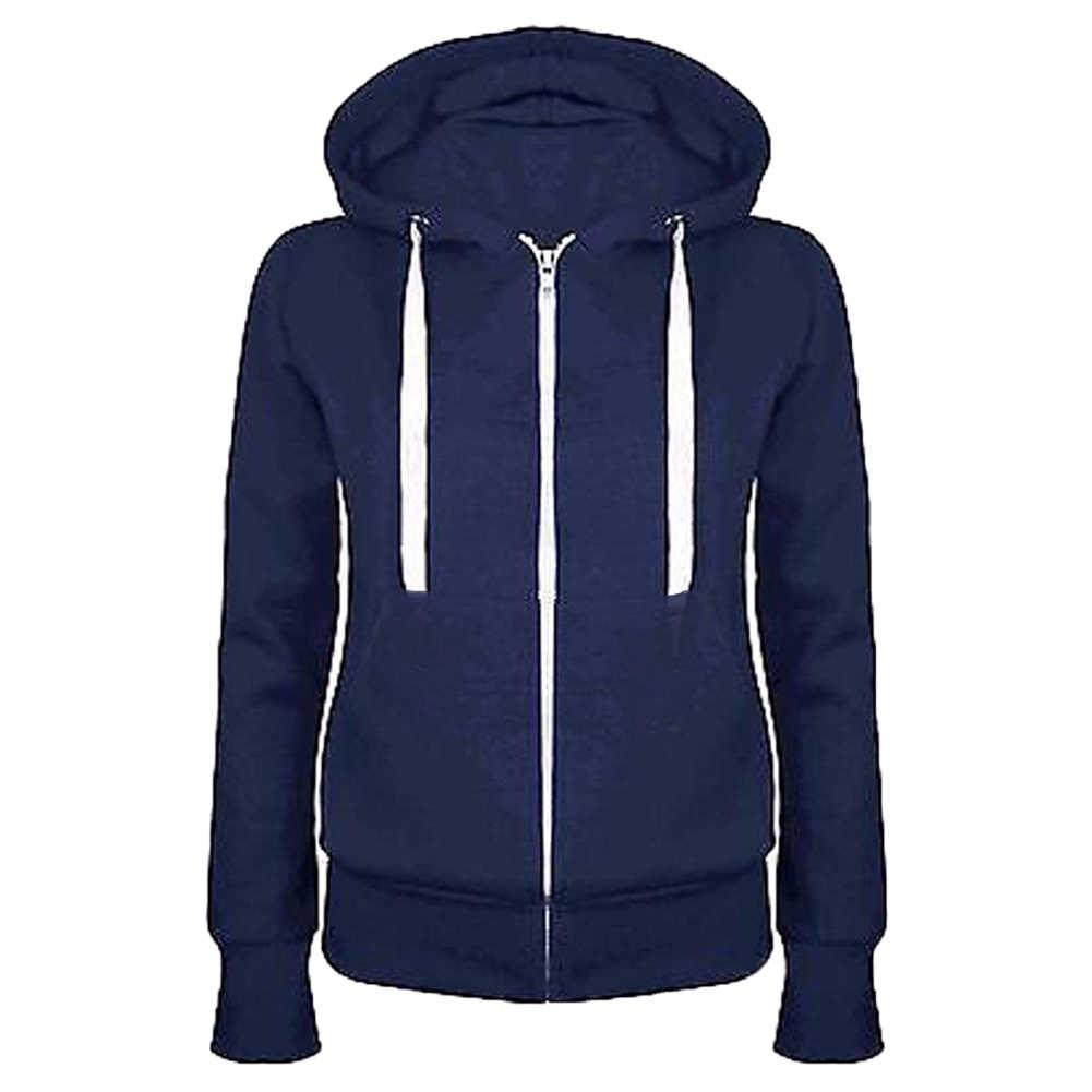 Mode Dame Feste Farbe Lange Hülse Mit Kapuze Tasche Zip Up Mantel Lässig Sweatshirt