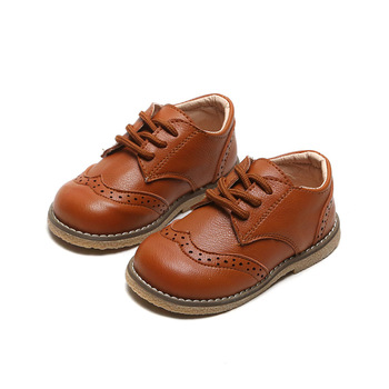 SKOEX Children's Brogue Leather Shoes Lace Up Boys Girls Formal Oxford Casual Shoes Non-slip Soft Kids Baby Uniform Dress Shoes