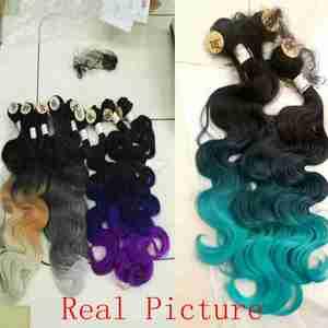 Image 3 - FAVE גוף גל שיער 3 חבילות עם סגירת סינטטי 4Pcs הרבה שחור כחול/סגול/ירוק/בלונד/אפור עבור שחור לבן נשים