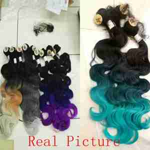 Image 3 - FAVE Body Wave Hair 3 Bundles With Closure Synthetic 4Pcs Lot Black Blue/Purple /Green/Blonde/Grey For Black Women daily Cosplay