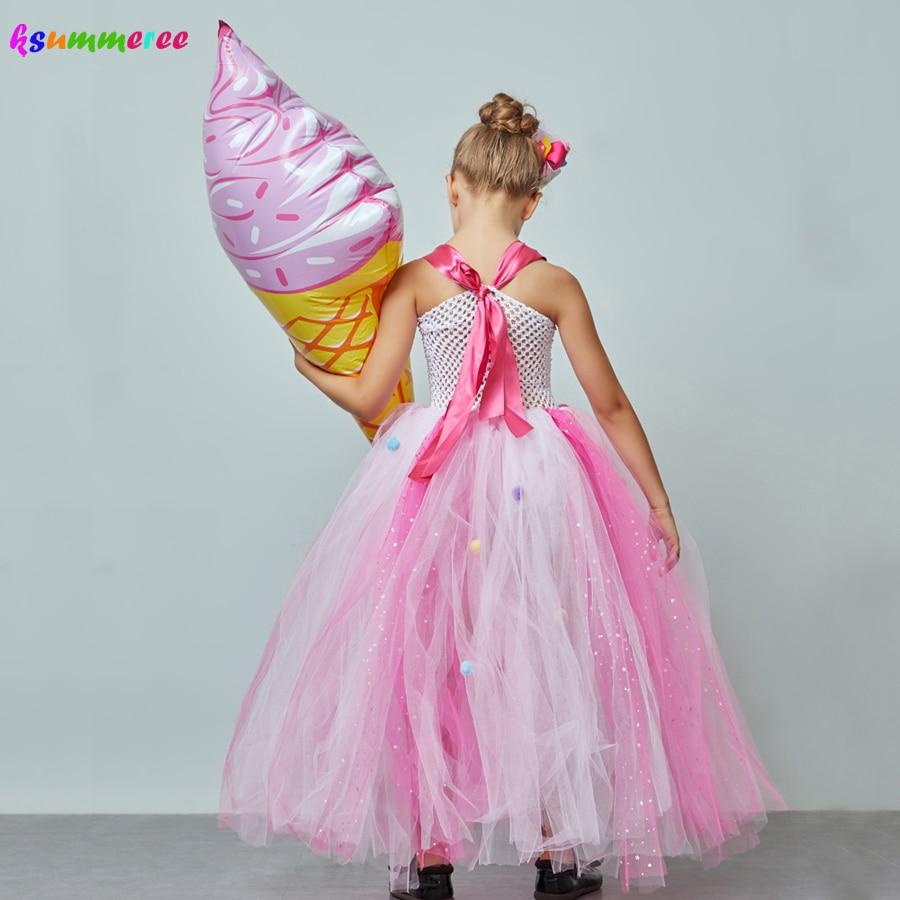 Ice Cream Sweet Candy Girls Tutu Dress with Hair Bows Kids Birthday Tutu Costume Pageant Princess Gown Dress Lollipop Dress 4