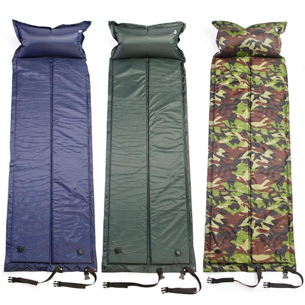 Single Sleeping Bed Inflatable Outdoor Camping Mat Portable Roll Self Inflating Pillow Air Mattress Picnic Beach Mat Pad