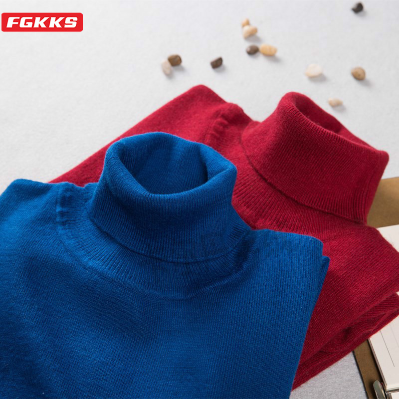 FGKKS Casual Brand Men Sweater Autumn Winter New Men's Wool 50 % Turtleneck Pullover Fashion Solid Knitted Sweaters Male Tops