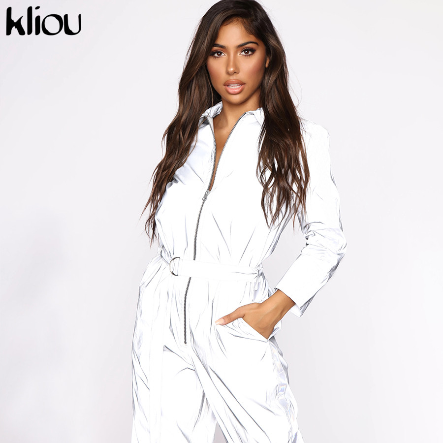 Kliou Women Reflective Jumpsuit Full Length Turn-down Collar Rompers With Sashes 2019 Autumn Female Long Sleeve Zipper Jumpsuits