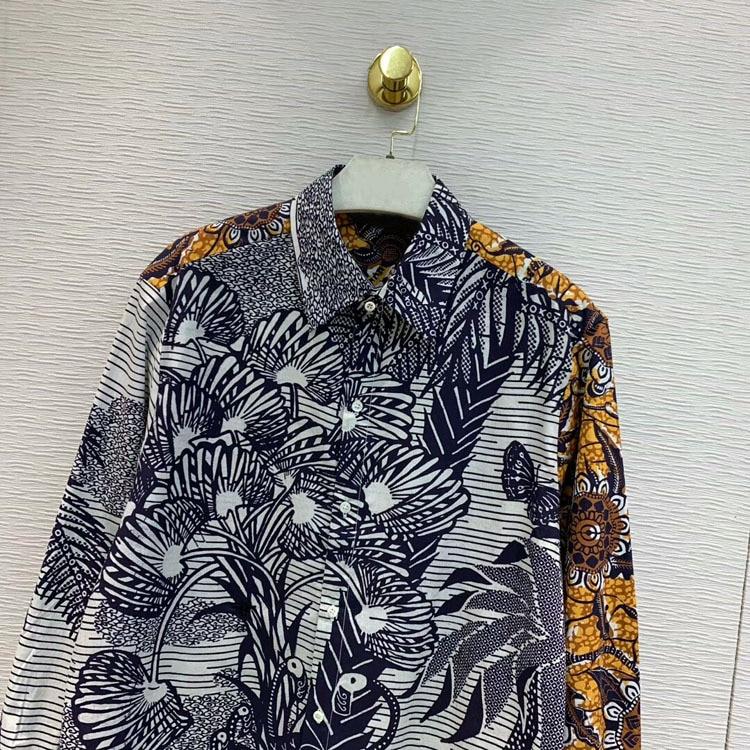 2019 Otoño e Invierno de las mujeres de alta calidad de moda elegante contraste Color Sketch impreso solapa camisa tamaño 36 38 40 - 2