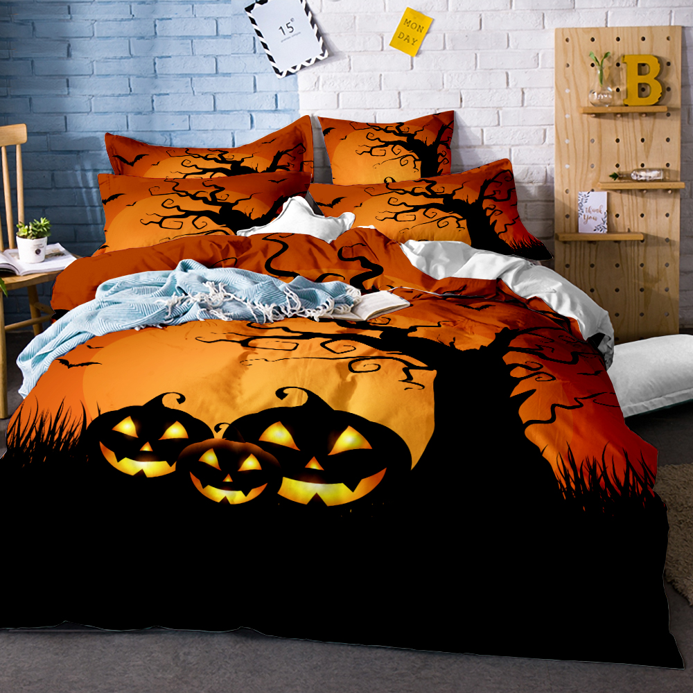 Happy Halloween Duvet Cover Set Trees Print Cartoon Pumpkin Bats Bedding Set Full Queen King Size Bedclothes Kids Bed Linen Set