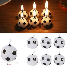 6 pcs Soccer Football Candles For Birthday Party Wedding Garden Decoration Party Cake