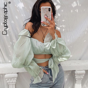 цена на Cryptographic Square Collar Fashion Flare Sleeve Chiffon Blouse Shirts Summer Backless Lace Up Crop Top Blouse Blusas Mujer Tops
