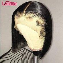 Peluca Bob recta de hueso pelucas de cabello humano peluca con malla Frontal brasileña corta prearrancada Remy Lemoda 13x4 Bob pelucas de encaje Frontal para mujer