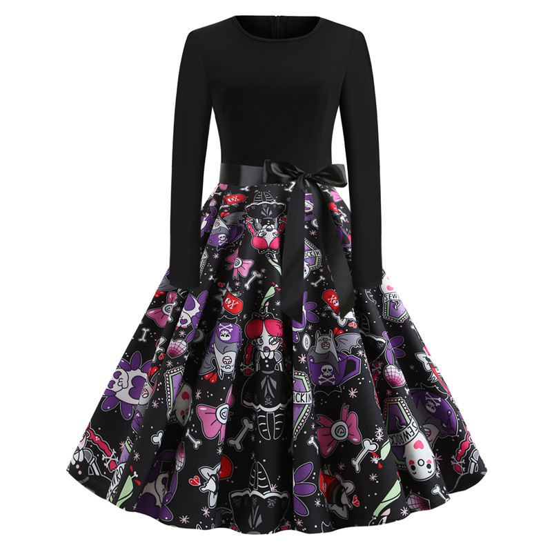 pumpkin print sexy dress halloween women clothes print vintage party dresses plus size elegant fashion girl gothic o neck in Dresses from Women 39 s Clothing